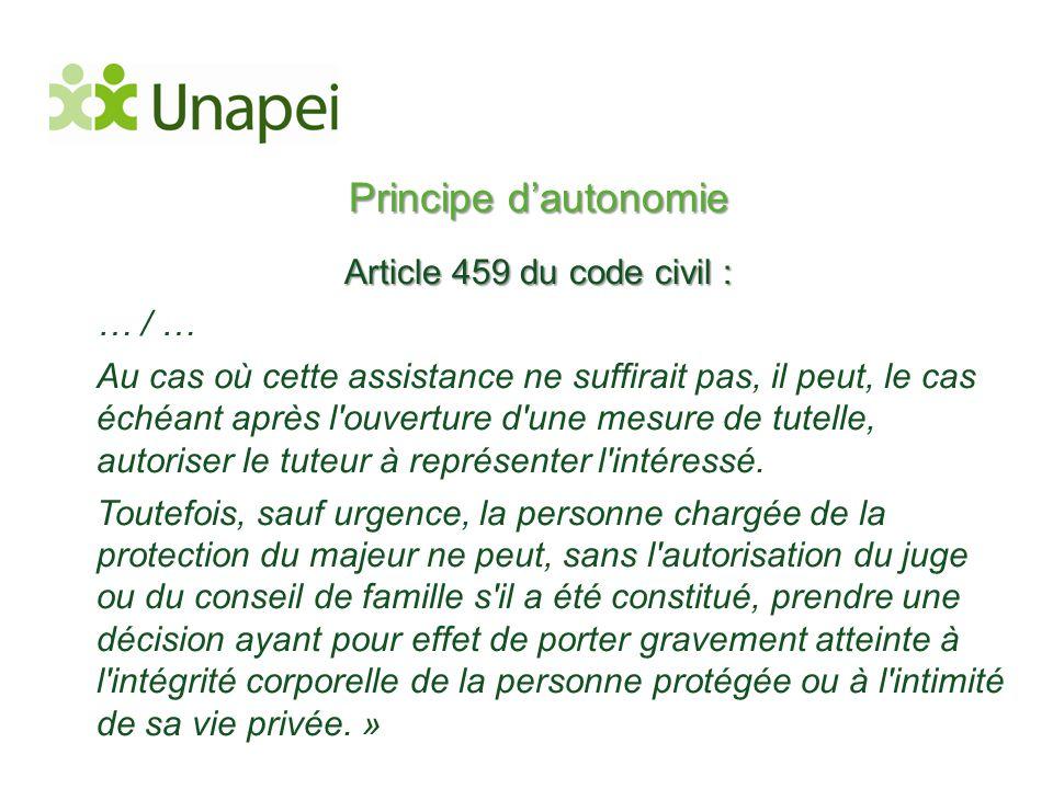 Principe d'autonomie Article 459 du code civil : … / …