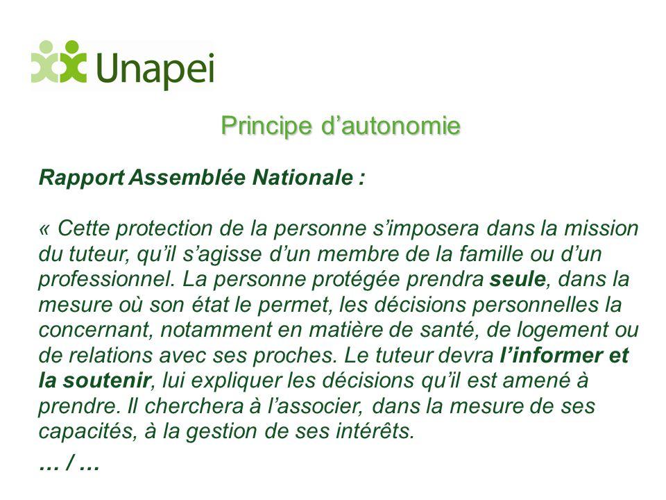 Principe d'autonomie Rapport Assemblée Nationale :