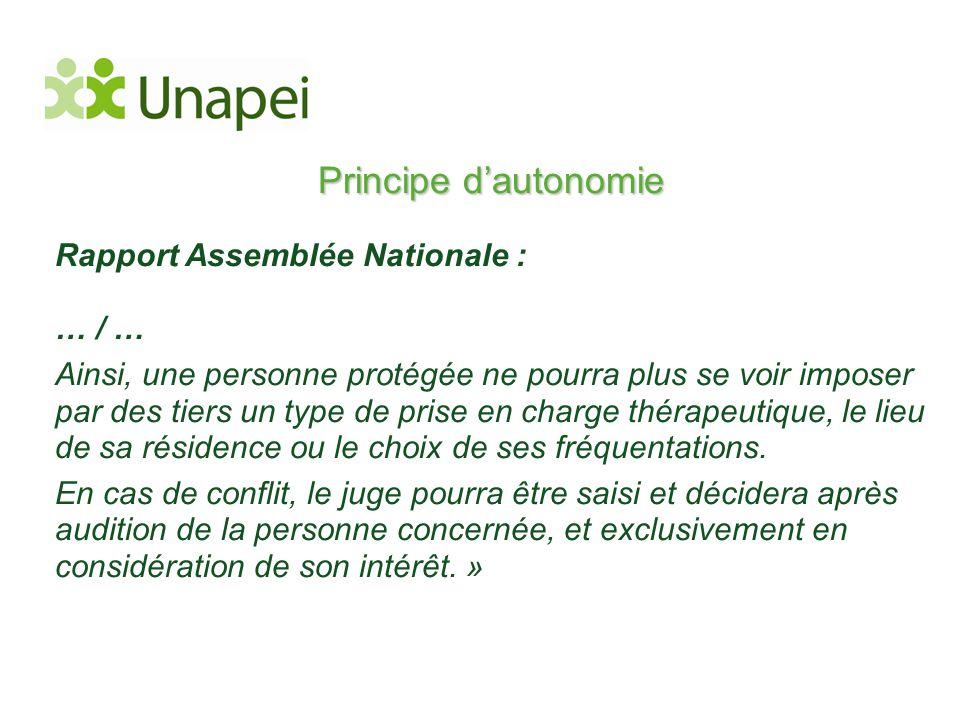 Principe d'autonomie Rapport Assemblée Nationale : … / …