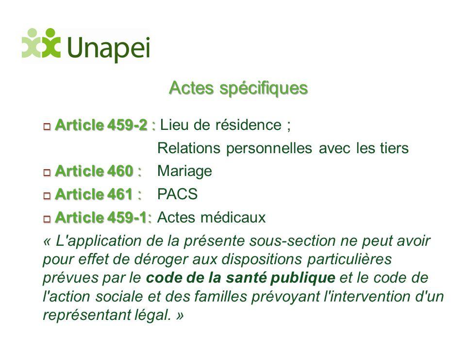 Actes spécifiques Article 459-2 : Lieu de résidence ;