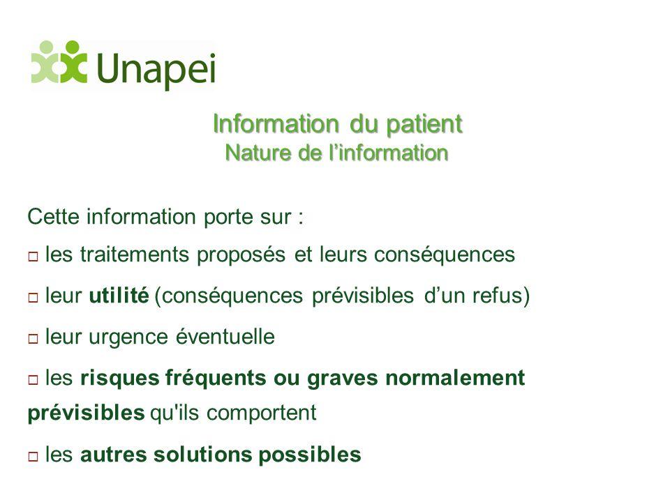Information du patient Nature de l'information