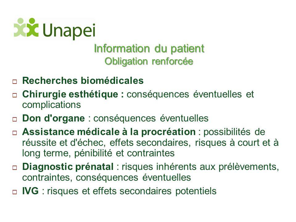 Information du patient Obligation renforcée