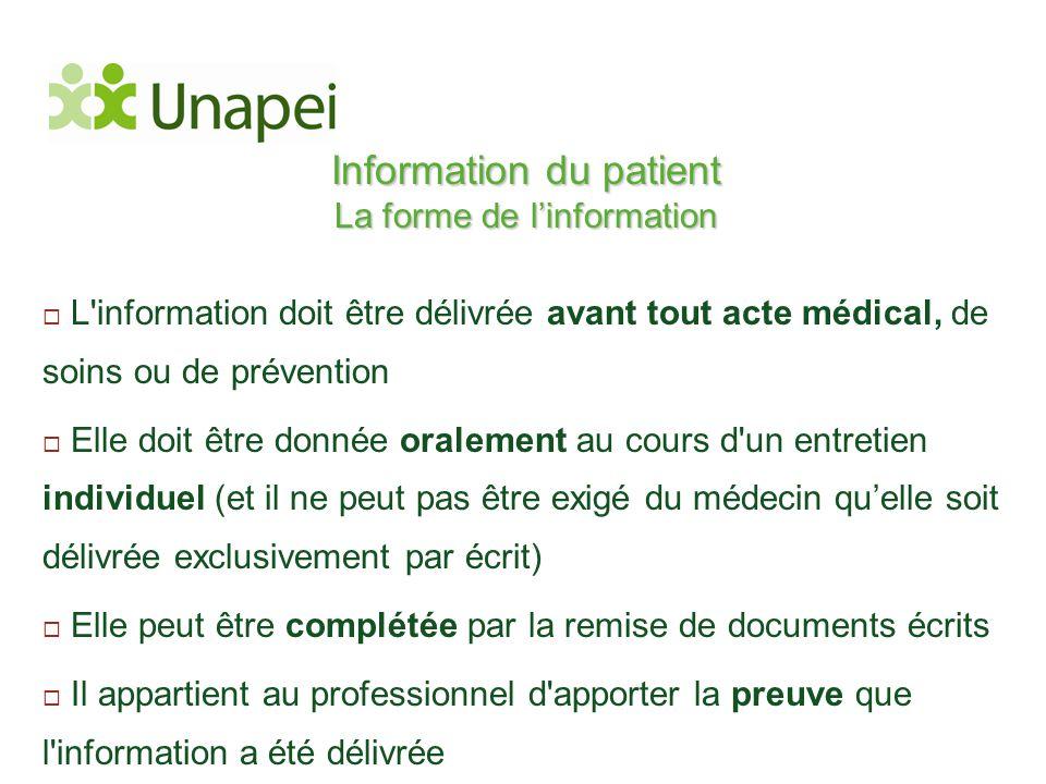 Information du patient La forme de l'information