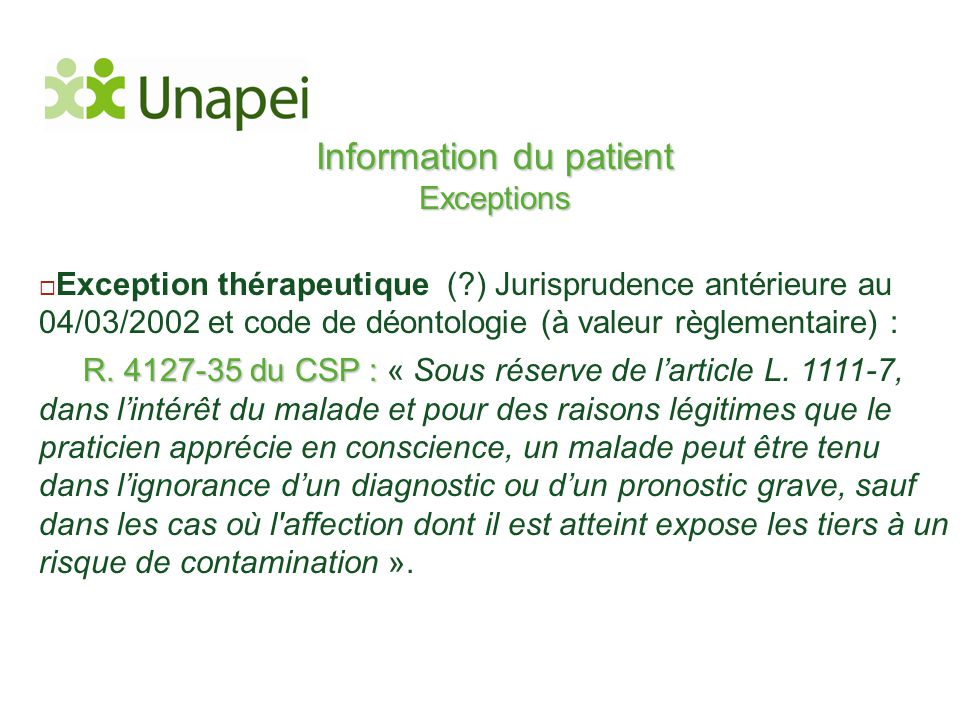 Information du patient Exceptions