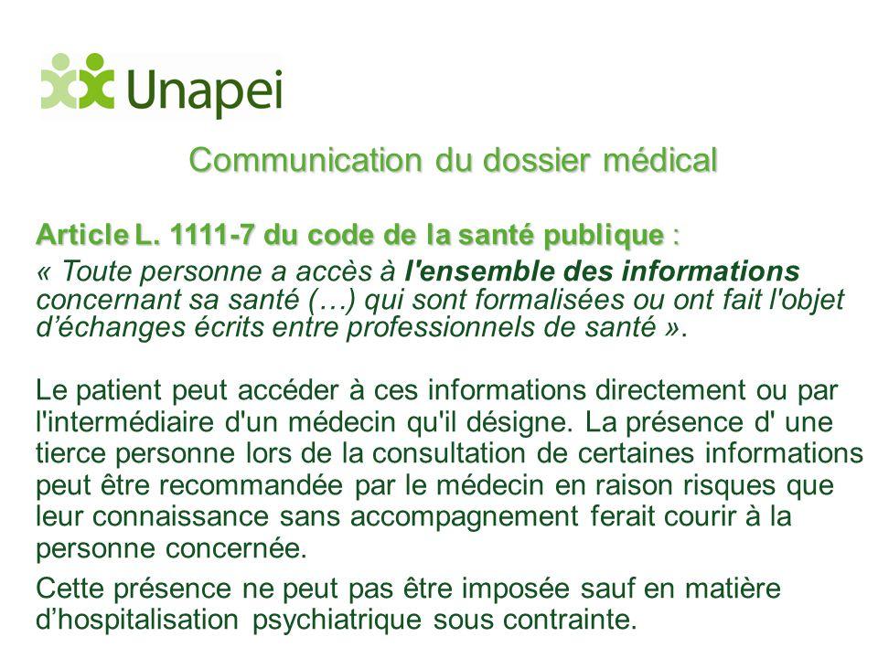 Communication du dossier médical