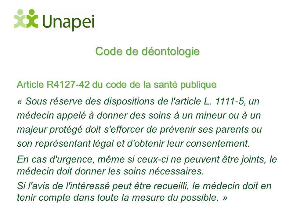 Code de déontologie Article R4127-42 du code de la santé publique