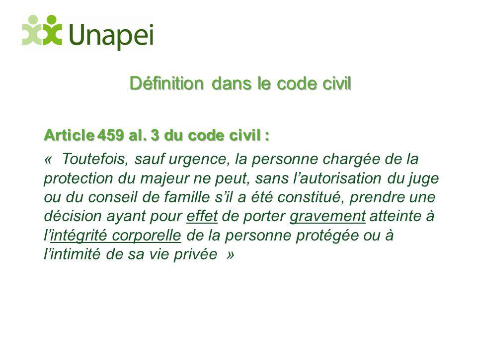 Définition dans le code civil