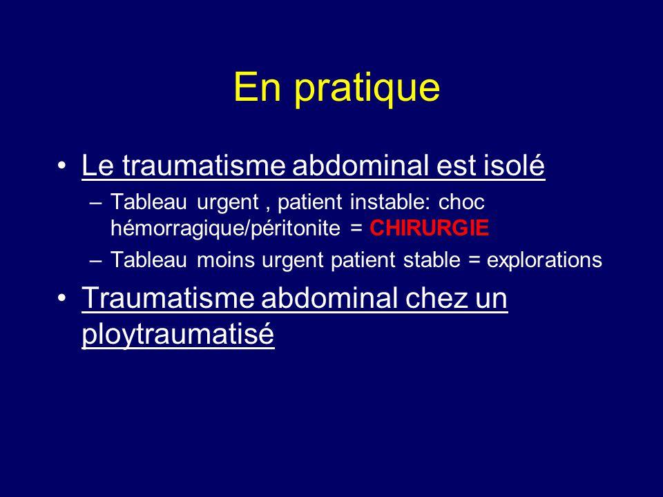 En pratique Le traumatisme abdominal est isolé