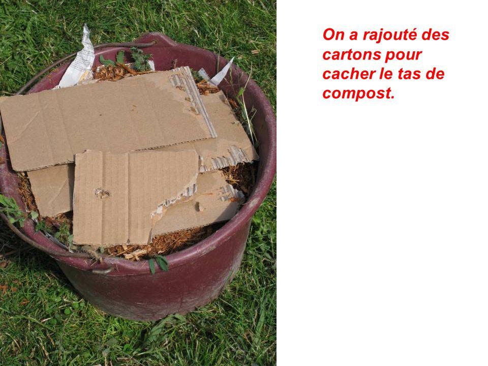 On a rajouté des cartons pour cacher le tas de compost.