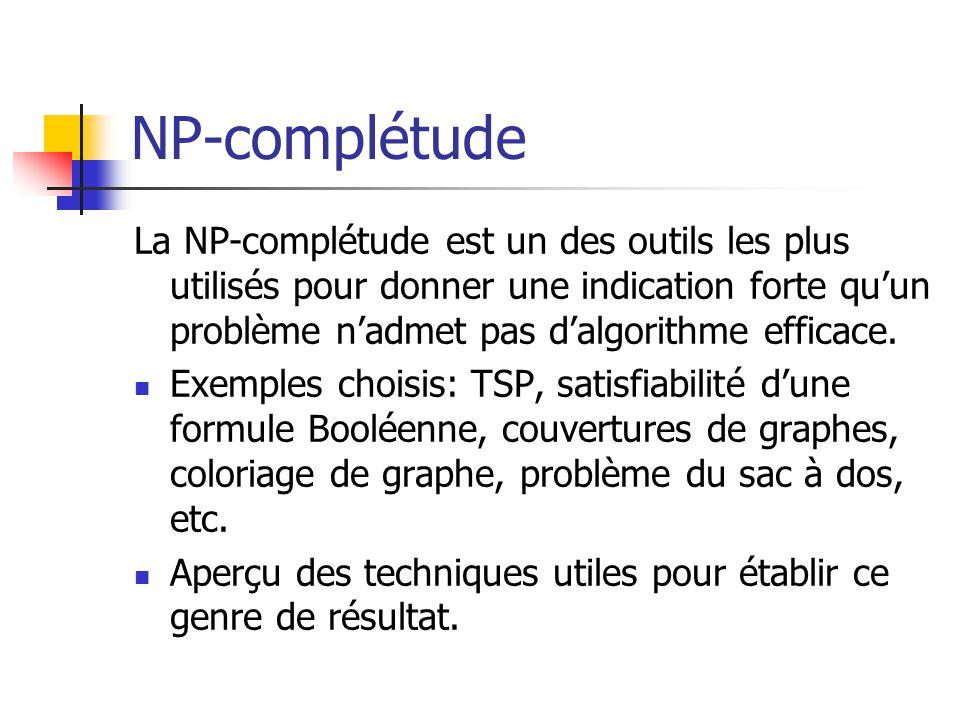 NP-complétude La NP-complétude est un des outils les plus utilisés pour donner une indication forte qu'un problème n'admet pas d'algorithme efficace.