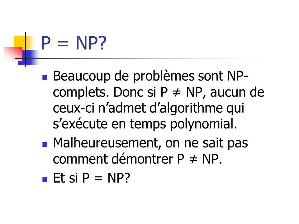 P = NP Beaucoup de problèmes sont NP-complets. Donc si P ≠ NP, aucun de ceux-ci n'admet d'algorithme qui s'exécute en temps polynomial.