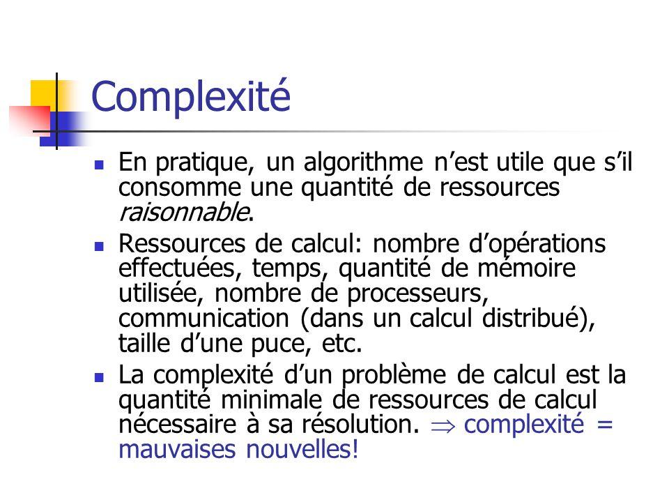 Complexité En pratique, un algorithme n'est utile que s'il consomme une quantité de ressources raisonnable.