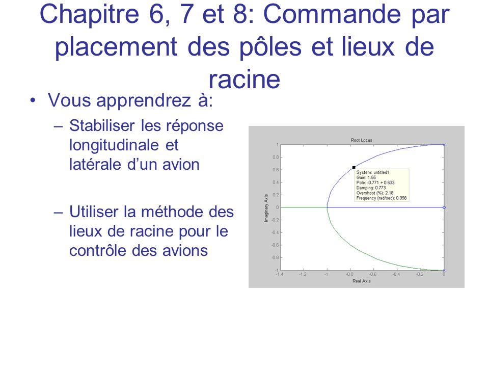 Chapitre 6, 7 et 8: Commande par placement des pôles et lieux de racine
