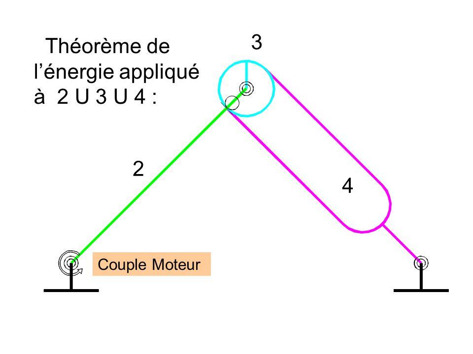 Théorème de l'énergie appliqué à 2 U 3 U 4 :