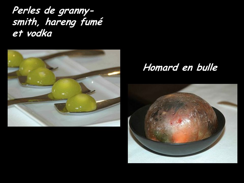 Perles de granny-smith, hareng fumé et vodka