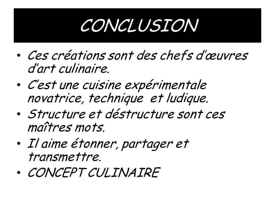 CONCLUSION Ces créations sont des chefs d'œuvres d'art culinaire.