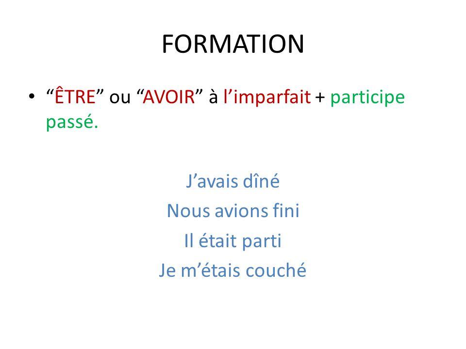 FORMATION ÊTRE ou AVOIR à l'imparfait + participe passé.