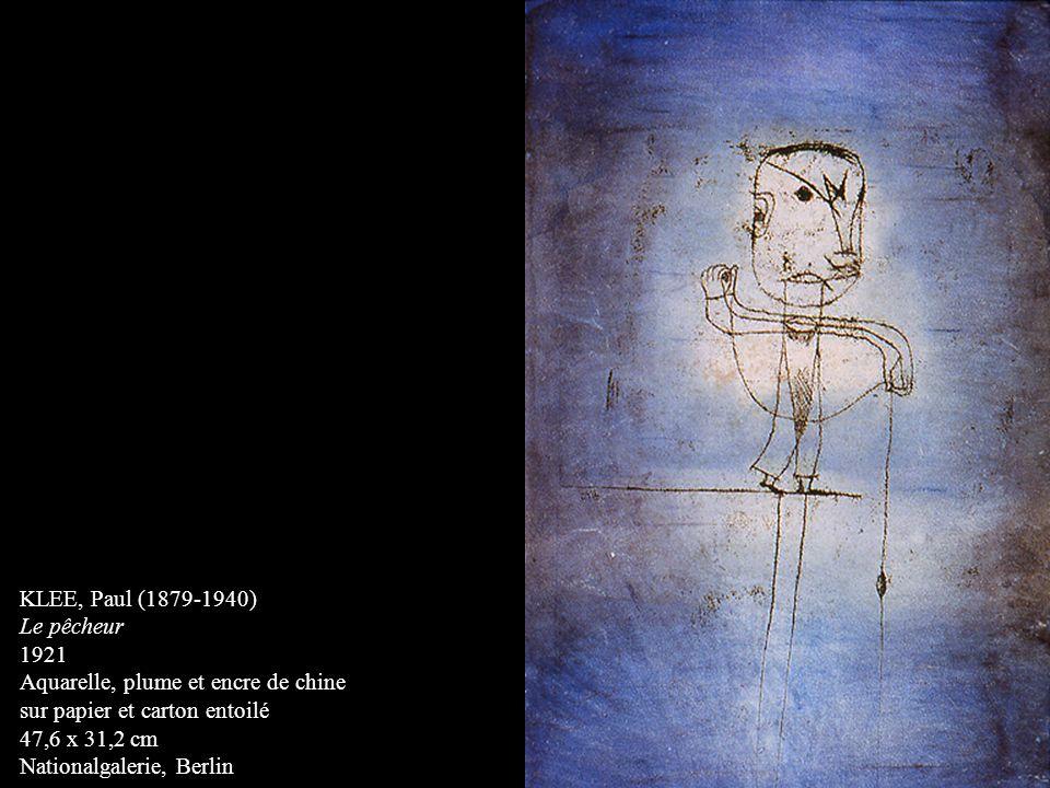 KLEE, Paul (1879-1940) Le pêcheur. 1921. Aquarelle, plume et encre de chine. sur papier et carton entoilé.