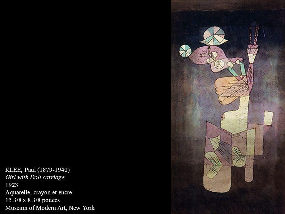 KLEE, Paul (1879-1940) Girl with Doll carriage. 1923. Aquarelle, crayon et encre. 15 3/8 x 8 3/8 pouces.