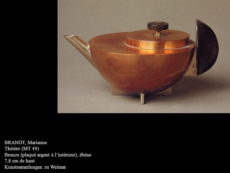 BRANDT, Marianne Théière (MT 49) Bronze (plaqué argent à l'intérieur), ébène.