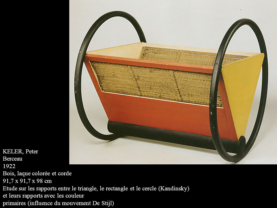 KELER, Peter Berceau. 1922. Bois, laque colorée et corde. 91,7 x 91,7 x 98 cm.