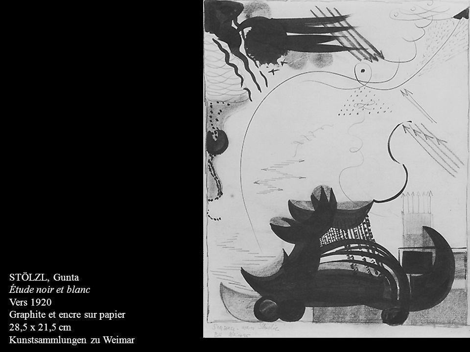STÖLZL, Gunta Étude noir et blanc. Vers 1920. Graphite et encre sur papier.