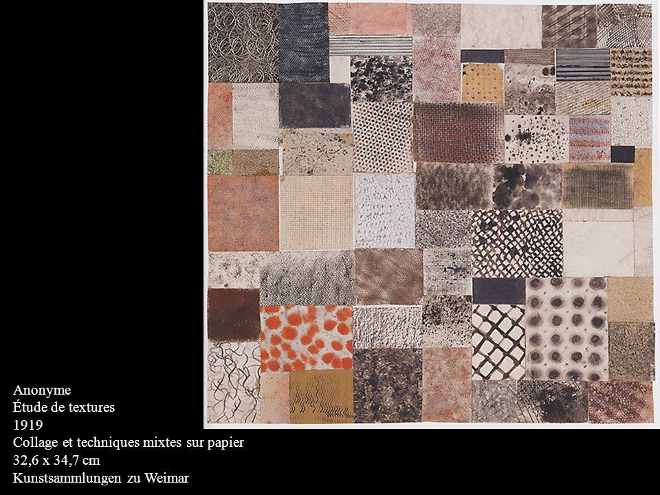 Anonyme Étude de textures. 1919. Collage et techniques mixtes sur papier.