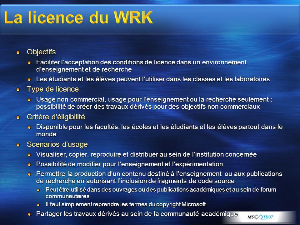 La licence du WRK Objectifs Type de licence Critère d'éligibilité