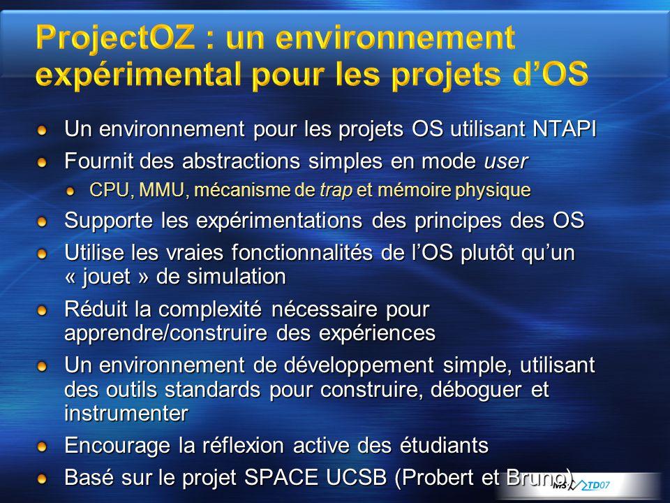 ProjectOZ : un environnement expérimental pour les projets d'OS