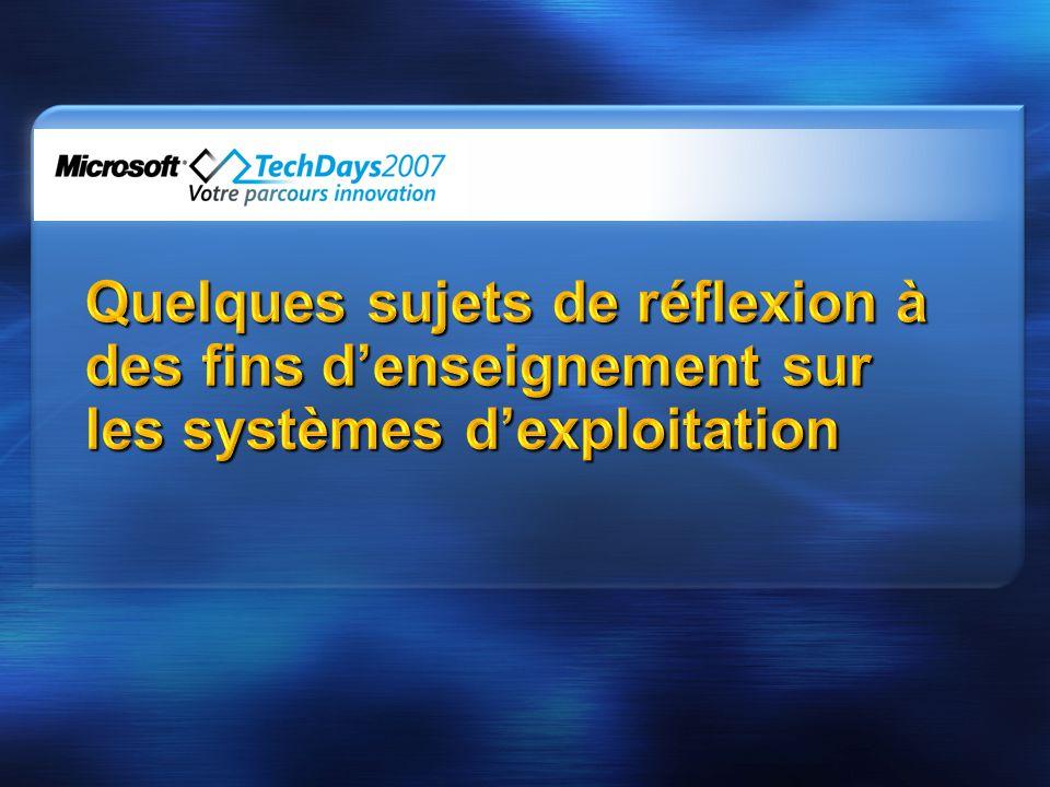 4/2/2017 4:35 PM Quelques sujets de réflexion à des fins d'enseignement sur les systèmes d'exploitation.