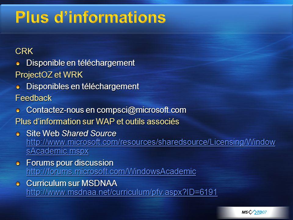 Plus d'informations CRK Disponible en téléchargement ProjectOZ et WRK