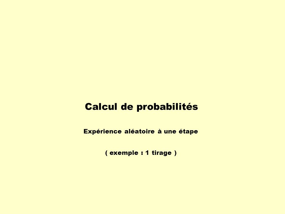 Calcul de probabilités