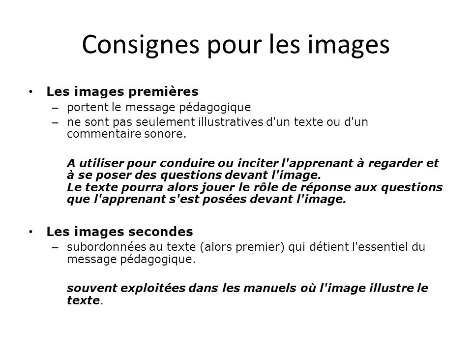 Consignes pour les images