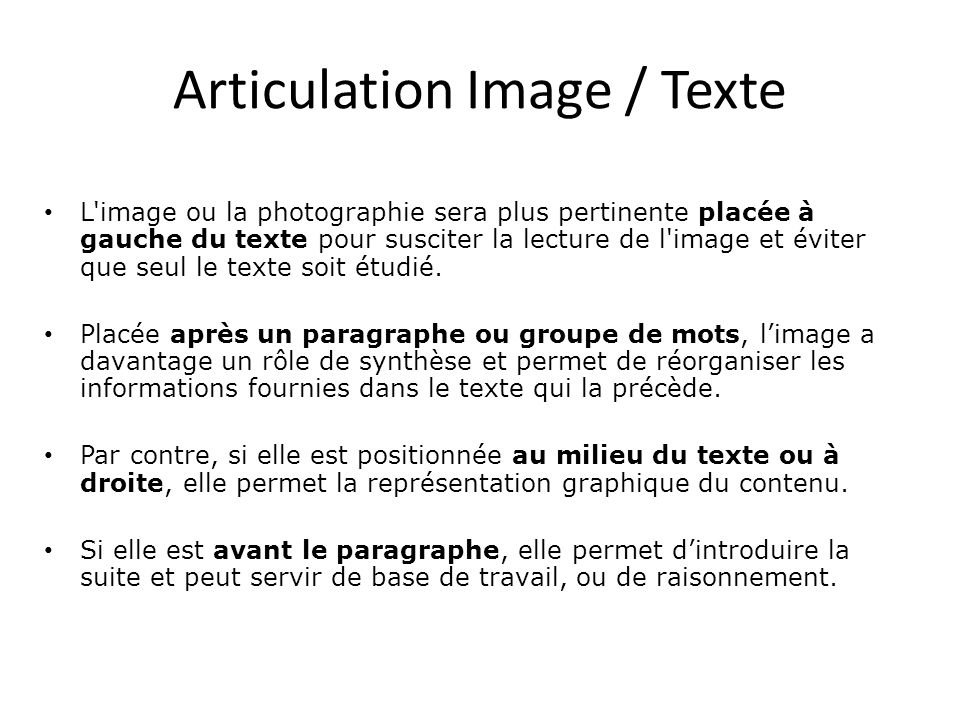 Articulation Image / Texte