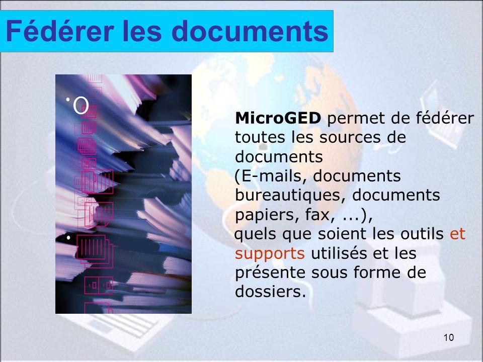 Fédérer les documents Fédérer les documents. MicroGED permet de fédérer toutes les sources de documents.