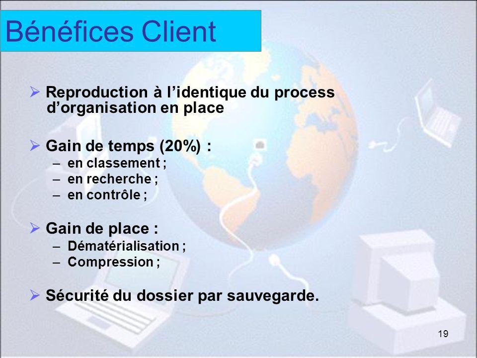 Bénéfices client Bénéfices Client.  Reproduction à l'identique du process d'organisation en place.