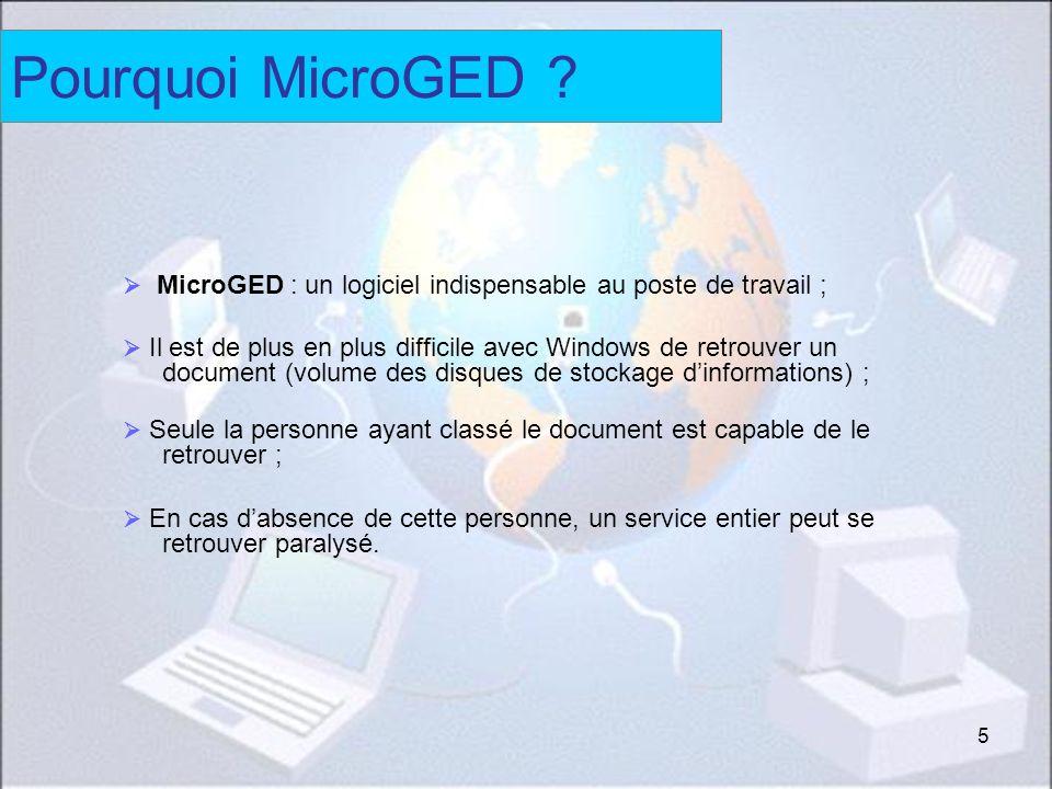 Pourquoi MicroGED  MicroGED : un logiciel indispensable au poste de travail ;