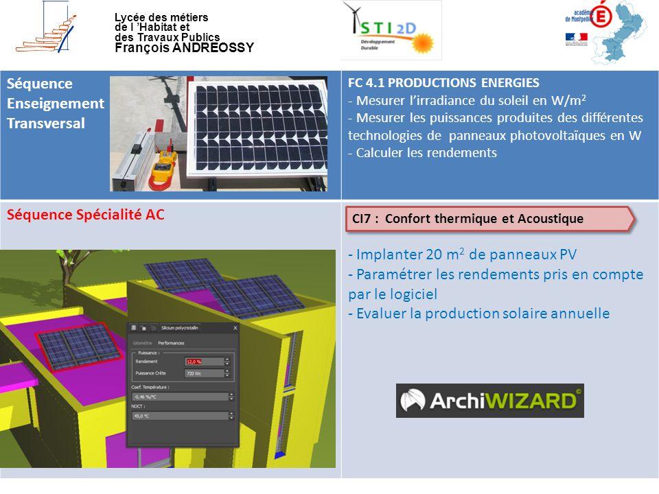 Séquence Spécialité AC Implanter 20 m2 de panneaux PV