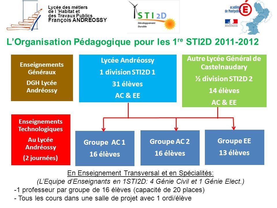 L'Organisation Pédagogique pour les 1re STI2D 2011-2012