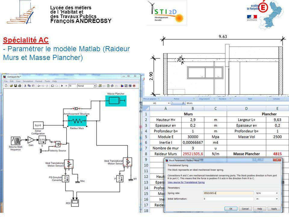 - Paramétrer le modèle Matlab (Raideur Murs et Masse Plancher)