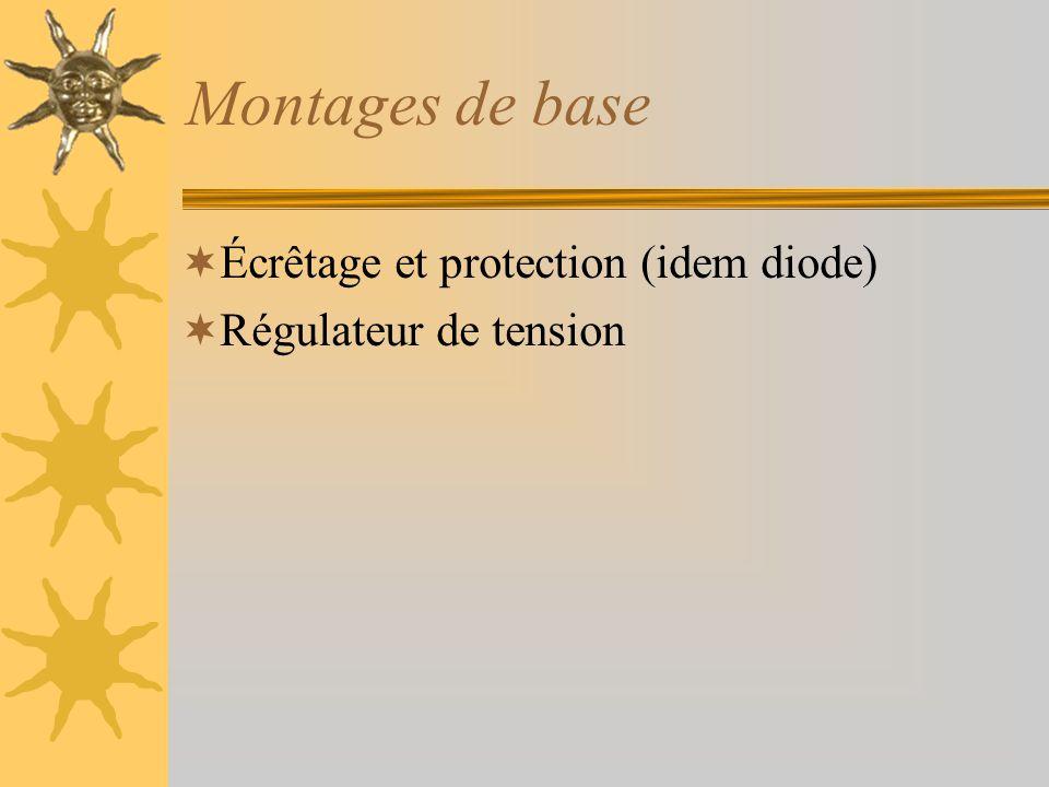 Montages de base Écrêtage et protection (idem diode)