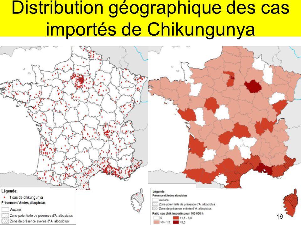 Distribution géographique des cas importés de Chikungunya
