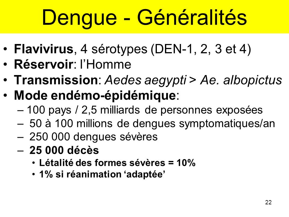 Dengue - Généralités Flavivirus, 4 sérotypes (DEN-1, 2, 3 et 4)