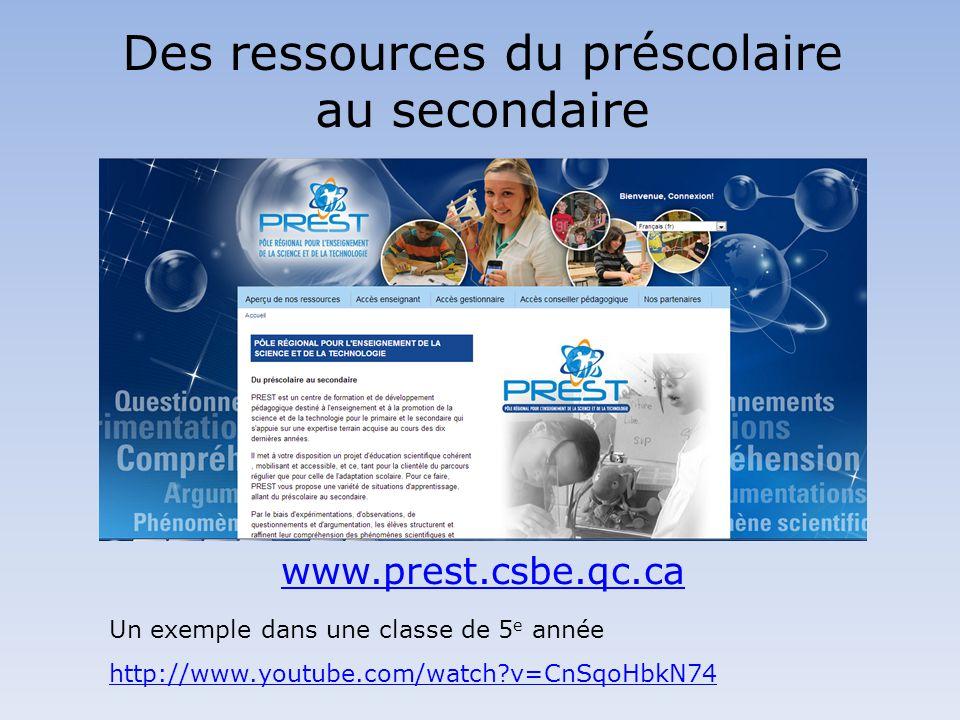 Des ressources du préscolaire