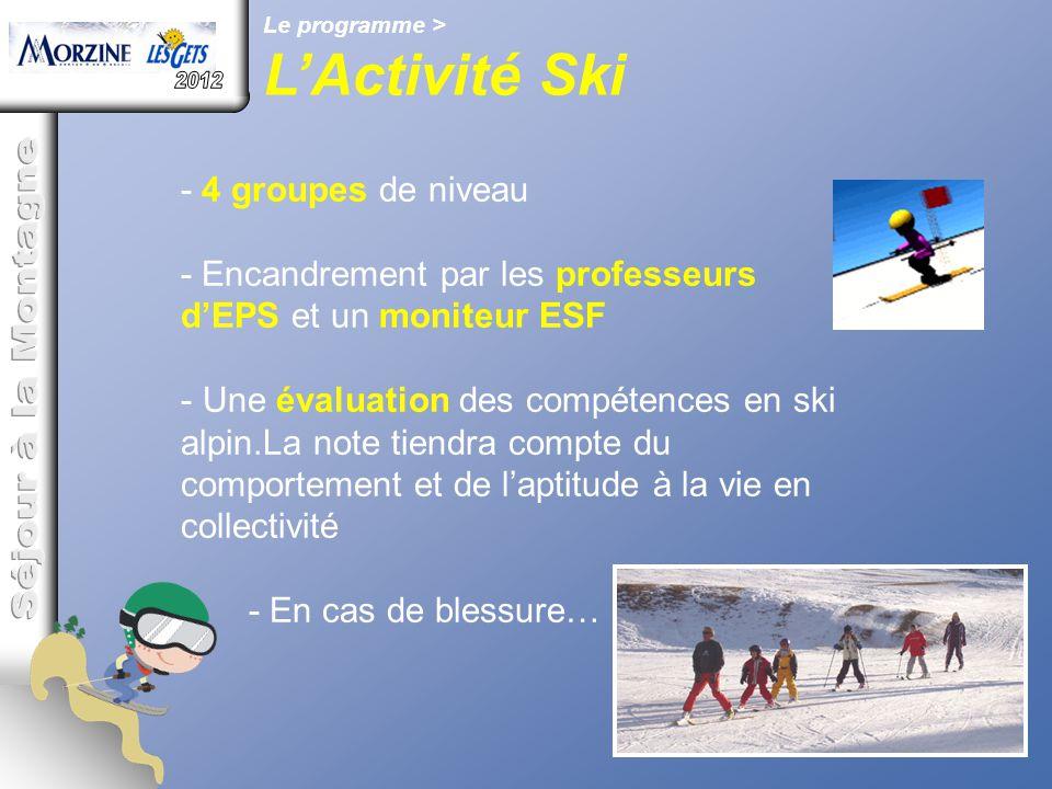 L'Activité Ski 2012 Séjour à la Montagne - 4 groupes de niveau