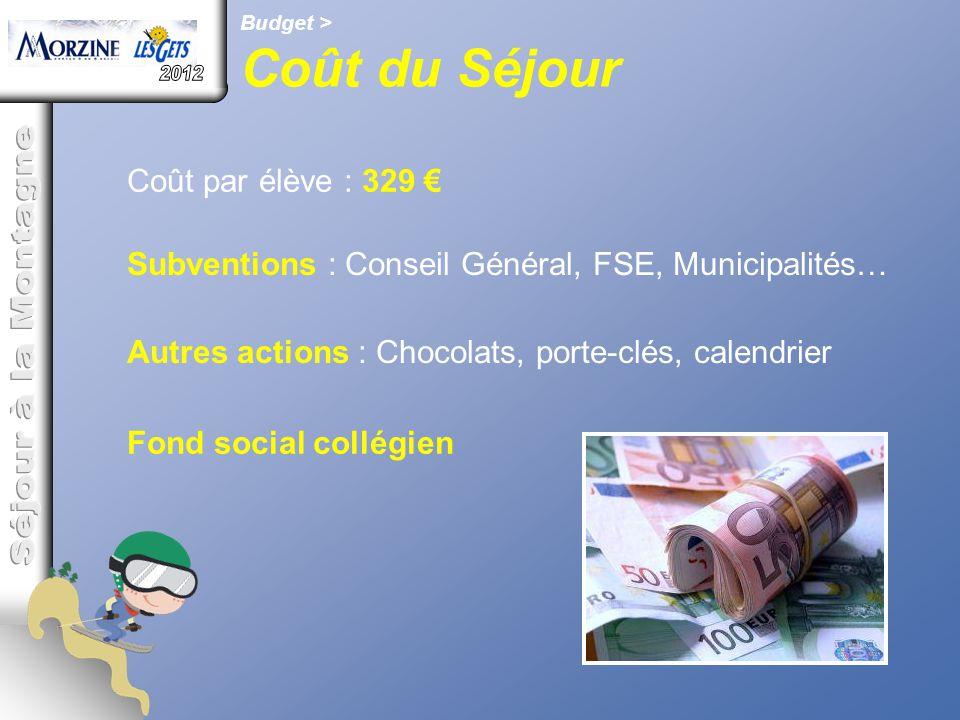 Coût du Séjour 2012 Séjour à la Montagne Coût par élève : 329 €