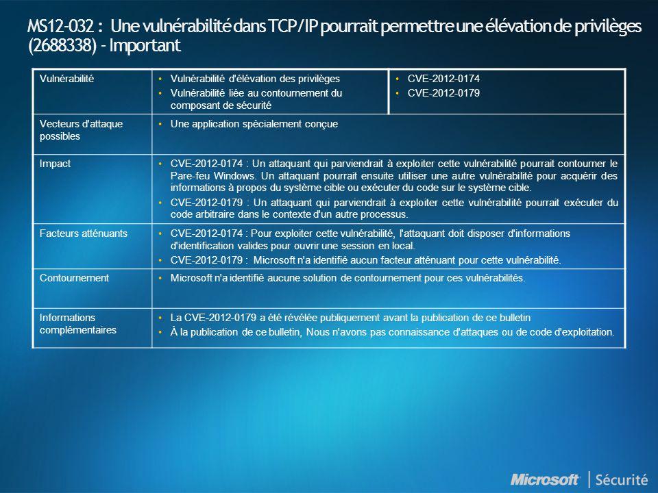 MS12-032 : Une vulnérabilité dans TCP/IP pourrait permettre une élévation de privilèges (2688338) - Important