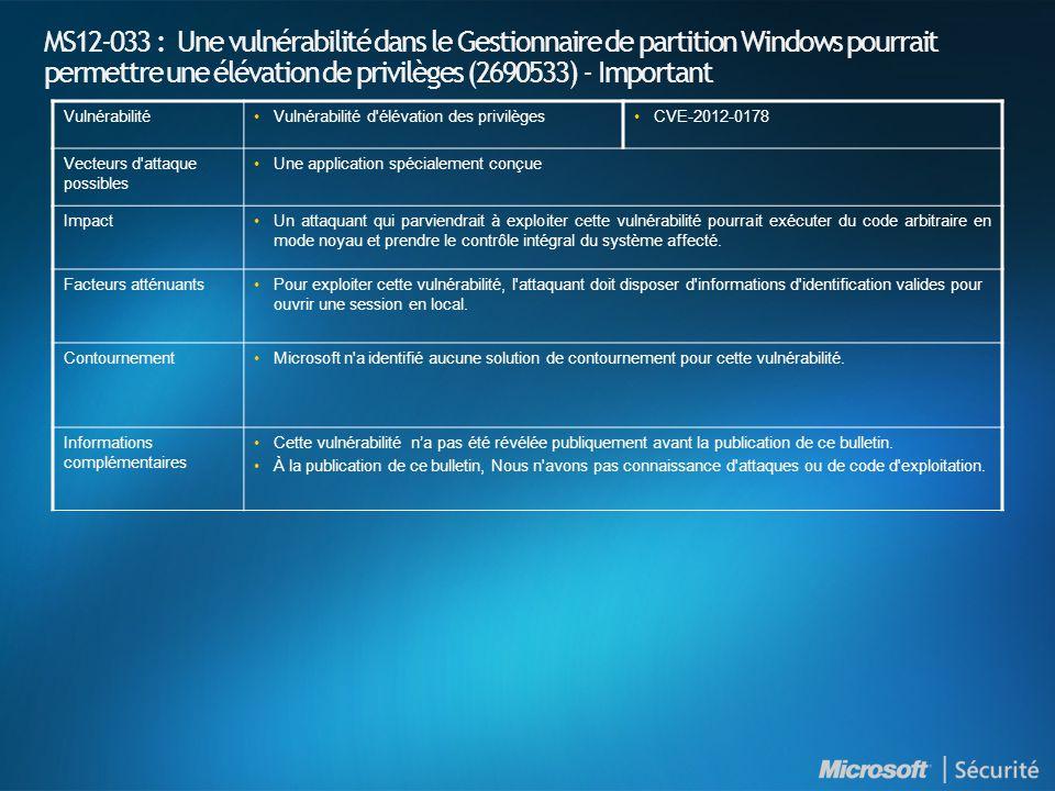 MS12-033 : Une vulnérabilité dans le Gestionnaire de partition Windows pourrait permettre une élévation de privilèges (2690533) - Important