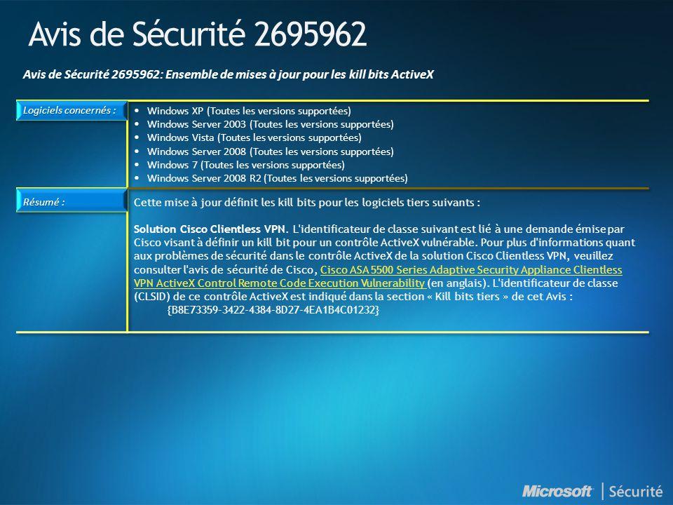 Avis de Sécurité 2695962 Avis de Sécurité 2695962: Ensemble de mises à jour pour les kill bits ActiveX.