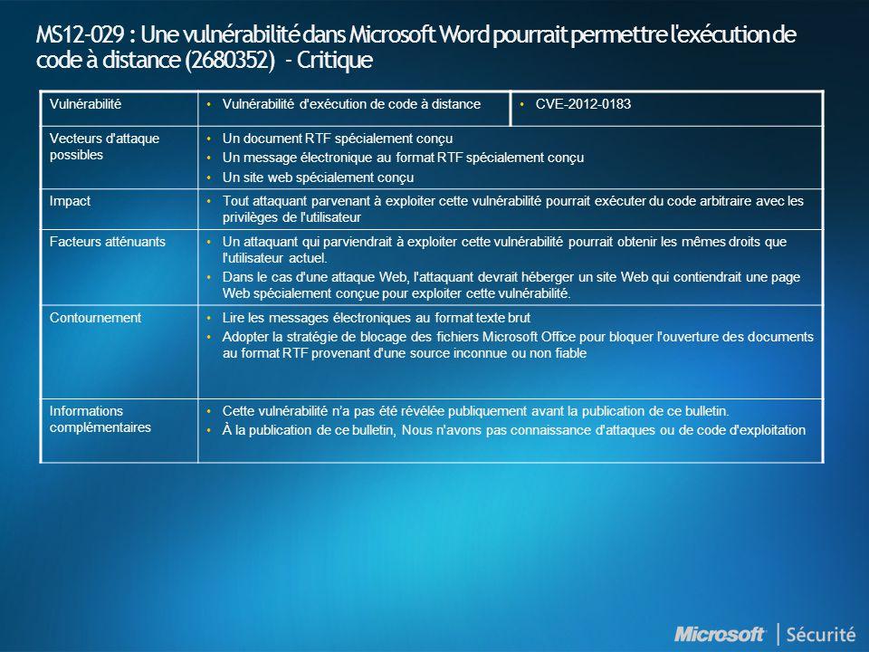 MS12-029 : Une vulnérabilité dans Microsoft Word pourrait permettre l exécution de code à distance (2680352) - Critique